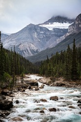 River Rapids With Mountain In Background, Alberta Canada