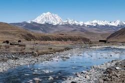 River Running Through Valley below Mount Yala, Tagong, Garze, Sichuan, China