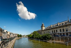 River Seine and Orfevres Embankment in Paris, France