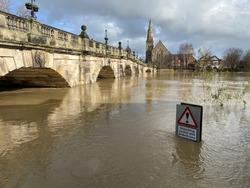 River Severn flooding in Shrewsbury, Shropshire, UK