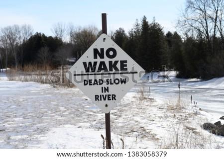 River sign in the frozen lake Zdjęcia stock ©