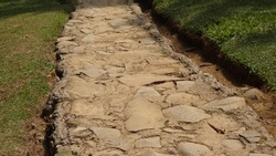 river stone to make the pathway for walking arround the camping ground