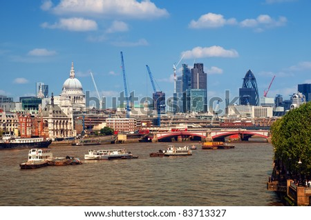 River Thames and City of London. This view includes :Tower 42, Gherkin,Willis Building, Stock Exchange Tower and Lloyd`s of London)