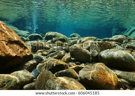 River underwater rocks on a shallow riverbed with clear water, Dumbea, Grande Terre island, New Caledonia