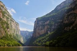 River view of the gigantic Canon del Sumidero of Chiapas, Mexico