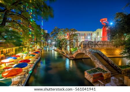 River Walk in San Antonio, Texas USA #561041941