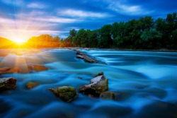 River water and sunset landscape