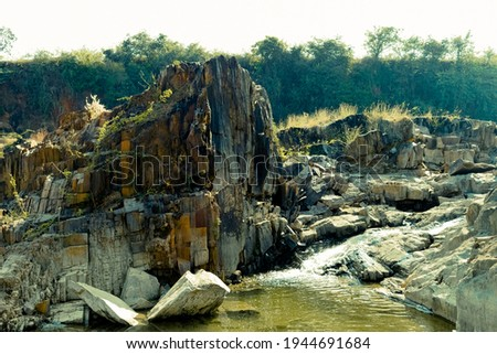River water flowing on the basalt stone quarry. Stock fotó ©