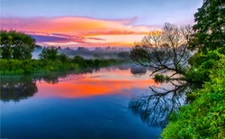 River water in beautiful sunset fog landscape view