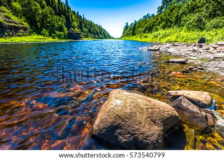 River water rocks in forest river landscape #573540799