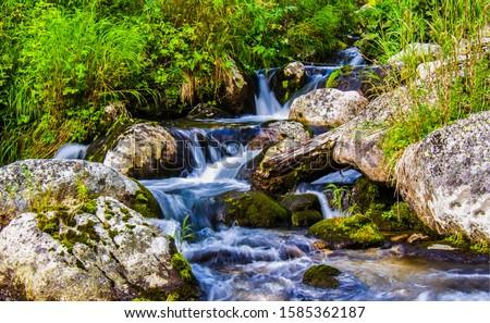 River waterfall stream rocks flow. Waterfall river stream rocks. Mossy rocks in river stream waterfall
