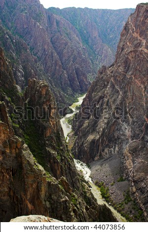 River winding through mountains in Black Canyon of Gunnison National park