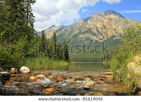 River with a rapid current in a valley between mountains in Jasper National Park (Alberta, Canada)