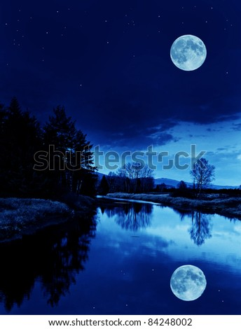 river with moon