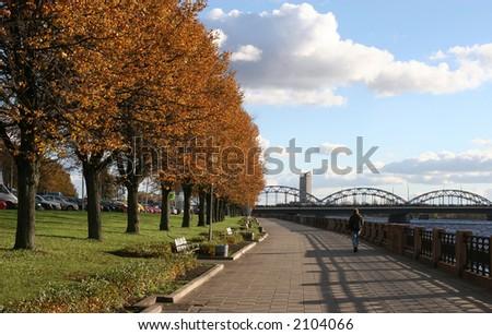 Riverbank of Daugava (Riga, Latvia, Europe). Daugava is the largest river in Latvia.