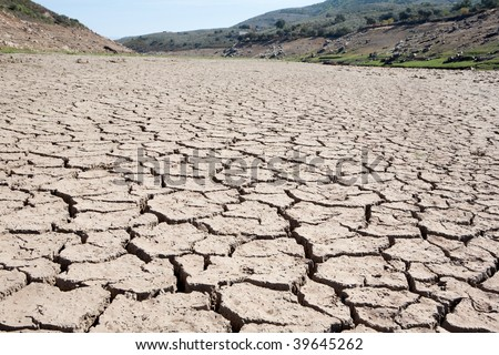 Riverbed without water for drought - stock photo