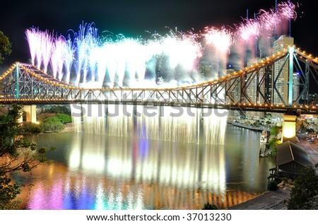 Riverfire waterfall and rainbow in Brisbane
