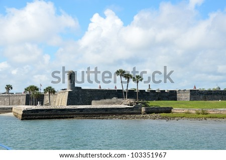 Riverfront view of the historic Castillo de San Marcos St. Augustine, Florida.
