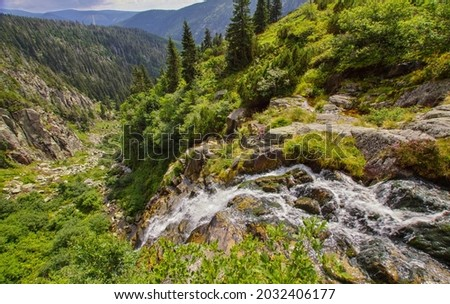 Riverhead of Elbe river in Giant mountains and coats of arms of towns along this river, national park Krkonose in the Czech Republic Foto stock ©