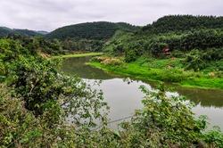 Riverside landscape in the village Luang Nam Tha, Northern Laos