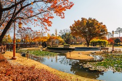 Riverside park autumn scenery near Silleuksa Temple in Yeoju, Korea