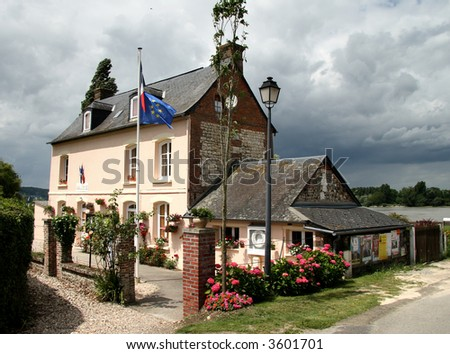 Riverside Village House In Normandy France, With Flag ...