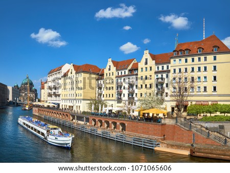 Riverside with old houses in East Center of Berlin, Germany