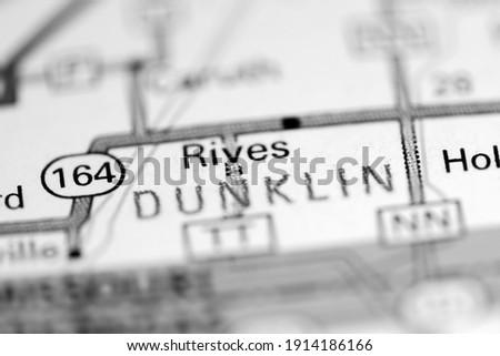 Rives. Missouri. USA on a geography map Photo stock ©