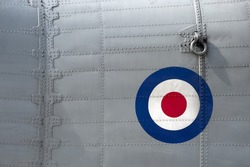 riveted fuselage panel on vintage british military aircraft