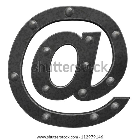 riveted metal email symbol on white background - 3d illustration - stock photo