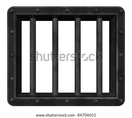 riveted steel prison window - 3d illustration - stock photo