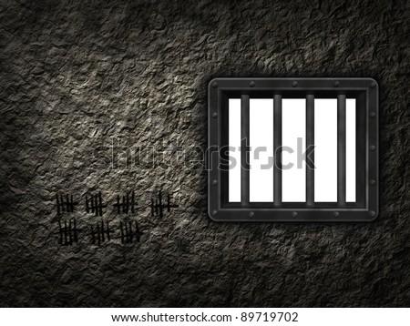 riveted steel prison window - 3d illustration