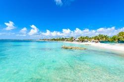 Riviera Maya - paradise beach Akumal at Cancun, Quintana Roo, Mexico - Caribbean coast - tropical destination for vacation