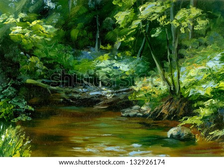 rivulet in thick forest, oil painting sketch - stock photo