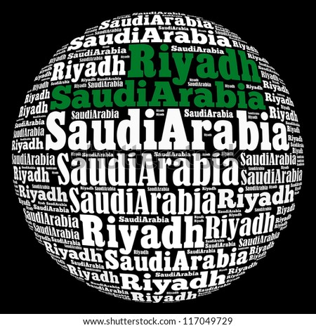 Riyadh capital city of Saudi Arabia info-text graphics and arrangement concept