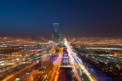 Riyadh skyline at night #5, Fast Transition 2030, zoom in effect