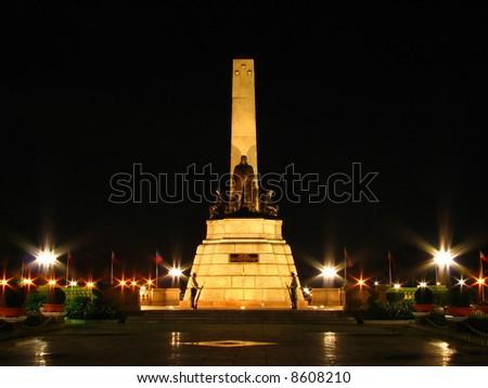 rizal monument at night - stock photo