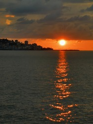 Rize, TURKEY. Rize is a touristic coastal port city near blacksea. sunset view of Rize city with reflection of sun on the sea.