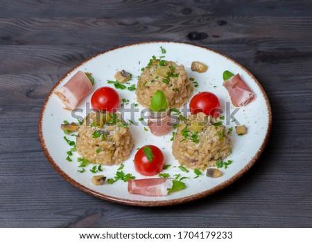 Rizotto cherry tomoatoes jamon parslay Stock fotó ©