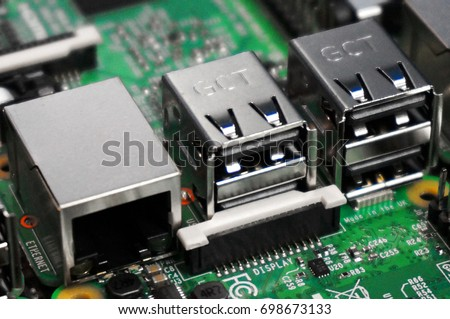 RJ45 and USB ports closeup on Raspberry Pi 3 board