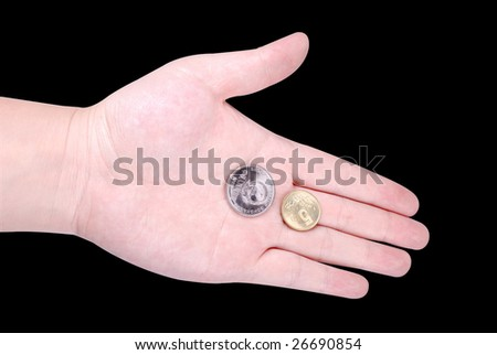 RMB coins in hand isolated on white background