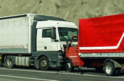 Road accident between two trucks. Frontal collision.