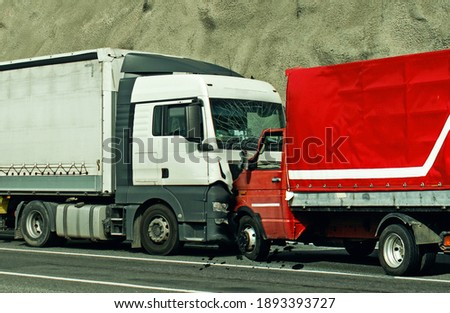 Road accident between two trucks. Frontal collision. Stock photo ©