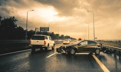 road accident in rainy highway