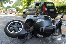 road accident with motor scooter