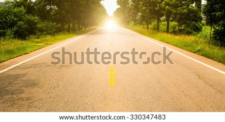 Road ahead and the sunrise for travel #330347483