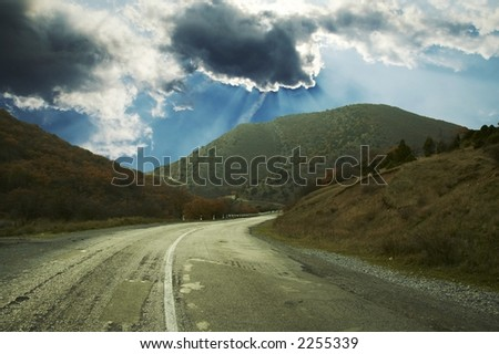 Road and blue in mountain
