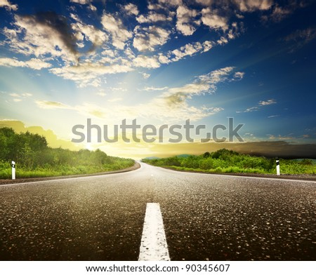 road and cloudy sky
