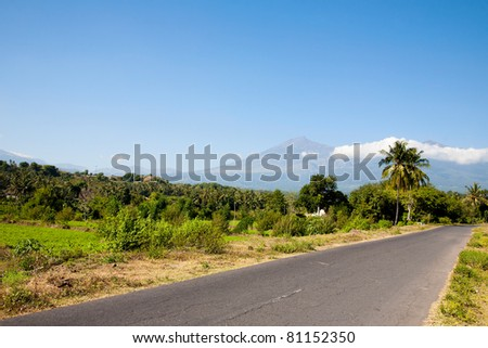 Road and mountain view in Lombok, Indonesia