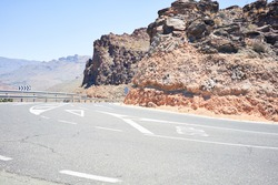 Road and mountains landscape at the canary islands